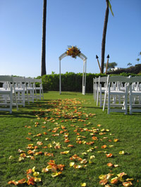 Wedding aisle pedal path and wedding arch at the end with floral arrangement.