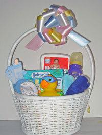 Welcome baby boy basket.