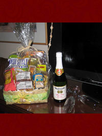 Honeymoon basket in hotel room.