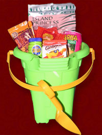 Special keiki basket. Beach bucket of treats for the kids.
