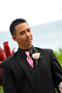 Pink Rose Boutonniere at Maui Wedding overlooking the Beach