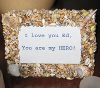Handmade shell frame with personalized message