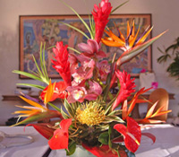 Vibrant Maui tropical flowers with bird of paradise and Hawaiian ginger