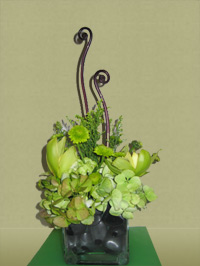 Maui tropical arrangement with greens and curly decoration