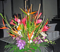 Tropical arrangement at a Maui banquet