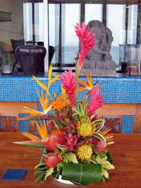 Tropical flower arragement with fresh Maui flowers, in a Maui home
