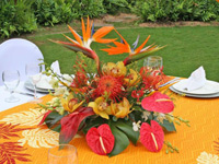 Tropical flower centerpiece at a Maui event