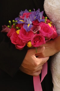 Wedding bouquet with bright pink flowers