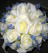 Wedding bouquet on Maui - white and blue flowers