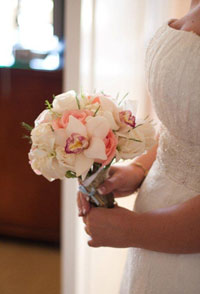 Wedding bouquet with large Maui orchids