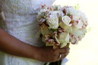 Maui wedding bouquet with white roses and pink lilies