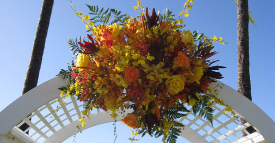 Floral Arrangement on Wedding Arch The wedding arch or bamboo canopy